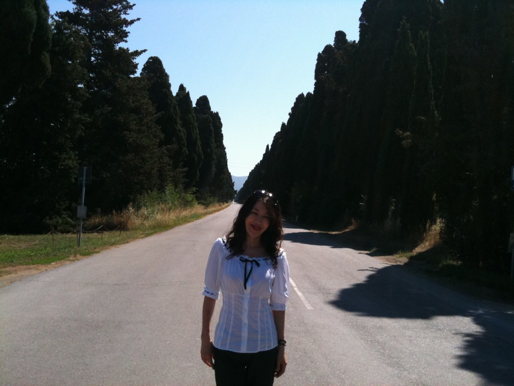 Junko in the wine region of Tuscany.